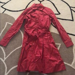 New Limited Coral Button Trench Dress 0